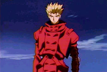 Vash about to fight someone